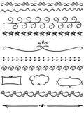 línea conjunto del doodle de la frontera Imagen de archivo libre de regalías