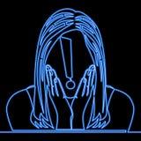 Línea continua concepto de neón sorprendido de la mujer ilustración del vector