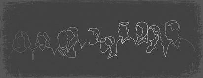 L?nea continua dibujo del grupo de personas una del vector La familia, amigos da a caracteres exhaustos el clipart de la silueta imagen de archivo