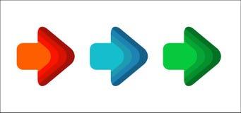 Línea correcta esquina redonda azul roja de la flecha del sistema del color verde libre illustration