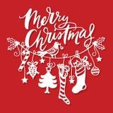 Línea corte de la ejecución de la Feliz Navidad del vintage del papel de las decoraciones libre illustration