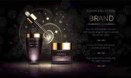 Línea cosmética de la noche para la piel de la cara stock de ilustración