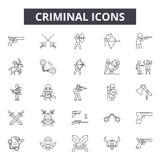 Línea criminal iconos, muestras, sistema del vector, concepto del ejemplo del esquema ilustración del vector