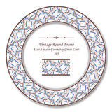 Línea cuadrada de la cruz de la geometría de la estrella retra redonda del marco 395 del vintage Imagen de archivo libre de regalías