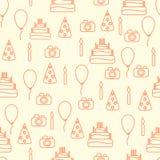 Línea cumpleaños del vector del estilo del arte feliz inconsútil Imagen de archivo libre de regalías
