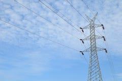 Torre de poder de alto voltaje Imágenes de archivo libres de regalías
