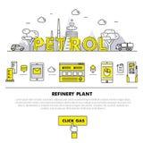Línea de bloque fina de la industria moderna de la gasolina iconos y compositio planos libre illustration