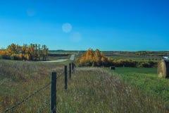 Línea de cerca a través de un campo de los granjeros Imágenes de archivo libres de regalías