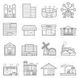 Línea de ciudad de los edificios sistema del icono libre illustration