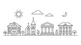 Línea de ciudad del vector paisaje libre illustration
