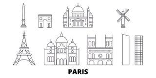 Línea de ciudad de Francia, París sistema del horizonte del viaje Ejemplo del vector de la ciudad del esquema de la ciudad de Fra libre illustration