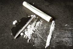 Línea de cocaína fotos de archivo libres de regalías