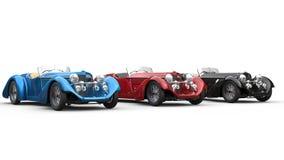 Línea de coches del vintage imagen de archivo libre de regalías