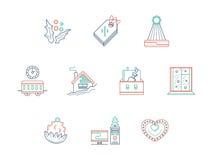 Línea de color de la celebración de la Navidad iconos fijados Imágenes de archivo libres de regalías