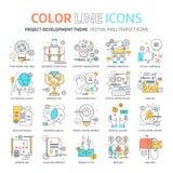 Línea de color, ejemplos del concepto del desarrollo de proyecto, iconos Fotos de archivo libres de regalías