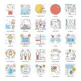 Línea de color plana iconos 15 Fotos de archivo