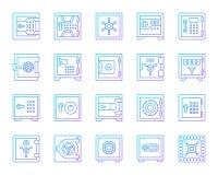 Línea de color simple de la célula segura del banco sistema del vector de los iconos stock de ilustración