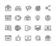 Línea de comercialización de entrada iconos Medios de la ventaja, influencia del márketing de la acción y atracción sociales del  libre illustration