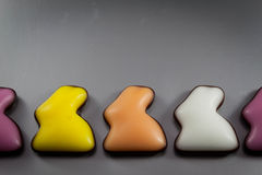 Línea de conejitos de pascua del azúcar Imágenes de archivo libres de regalías