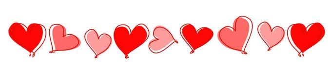 Línea de corazones/divisor Fotos de archivo