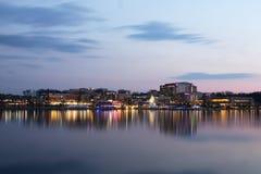 Línea de costa nacional del puerto de Washington en la noche Fotografía de archivo libre de regalías