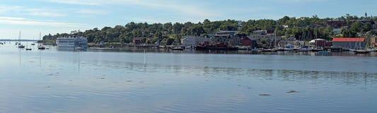 Línea de costa panorámica de Belfast Maine Fotografía de archivo