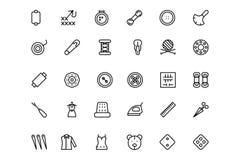 Línea de costura iconos 3 del vector Fotografía de archivo libre de regalías