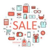 Línea de descuento de la venta Art Thin Icons Set con los elementos de las compras Fotografía de archivo