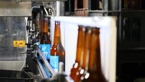 Línea de embotellamiento automática de la cerveza Cola de botellas llenadas listas en el transportador La mano del trabajador tom almacen de video