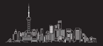 Línea de fachada del paisaje urbano diseño del ejemplo del vector del arte (China) Imagenes de archivo