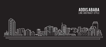 Línea de fachada del paisaje urbano diseño del ejemplo del vector del arte - ciudad de Addis Ababa Imagenes de archivo