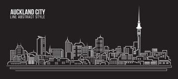 Línea de fachada del paisaje urbano diseño del ejemplo del vector del arte - ciudad de Auckland Imágenes de archivo libres de regalías