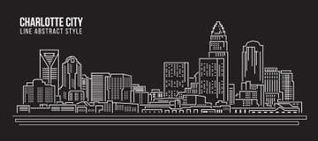 Línea de fachada del paisaje urbano diseño del ejemplo del vector del arte - ciudad de Charlotte