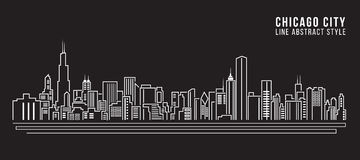 Línea de fachada del paisaje urbano diseño del ejemplo del vector del arte - ciudad de Chicago Imagen de archivo