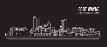 Línea de fachada del paisaje urbano diseño del ejemplo del vector del arte - ciudad de fuerte Wayne stock de ilustración