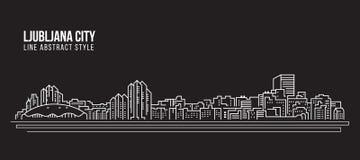 Línea de fachada del paisaje urbano diseño del ejemplo del vector del arte - ciudad de Ljubljana stock de ilustración