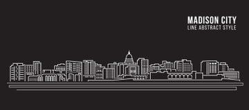 Línea de fachada del paisaje urbano diseño del ejemplo del vector del arte - ciudad de Madison