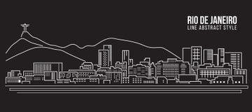 Línea de fachada del paisaje urbano diseño del ejemplo del vector del arte - ciudad de Río de Janeiro Imagenes de archivo