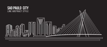 Línea de fachada del paisaje urbano diseño del ejemplo del vector del arte - ciudad de Sao Paulo Imágenes de archivo libres de regalías