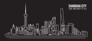 Línea de fachada del paisaje urbano diseño del ejemplo del vector del arte - ciudad de Shangai stock de ilustración