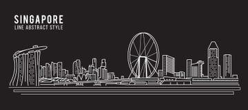 Línea de fachada del paisaje urbano diseño del ejemplo del vector del arte - ciudad de Singapur ilustración del vector
