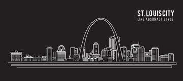 Línea de fachada del paisaje urbano diseño del ejemplo del vector del arte - ciudad de St. Louis libre illustration