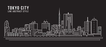 Línea de fachada del paisaje urbano diseño del ejemplo del vector del arte - ciudad de Tokio