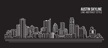 Línea de fachada del paisaje urbano diseño del ejemplo del vector del arte - ciudad del horizonte de Austin stock de ilustración
