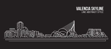 Línea de fachada del paisaje urbano diseño del ejemplo del vector del arte - horizonte de Valencia ilustración del vector