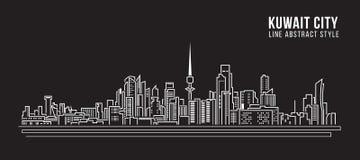 Línea de fachada del paisaje urbano diseño del ejemplo del vector del arte - la ciudad de Kuwait