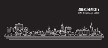 Línea de fachada del paisaje urbano diseño del ejemplo del vector del arte - ciudad de Aberdeen libre illustration