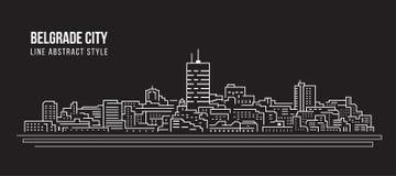 Línea de fachada del paisaje urbano diseño del ejemplo del vector del arte - ciudad de Belgrado ilustración del vector