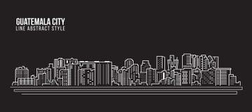 Línea de fachada del paisaje urbano diseño del ejemplo del vector del arte - ciudad de Guatemala libre illustration