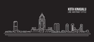 Línea de fachada del paisaje urbano diseño del ejemplo del vector del arte - ciudad de Kota Kinabalu